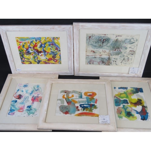 959 - Jasna Nikolic, late 20th century  five brightly coloured abstract watercolours, all signed and dated...