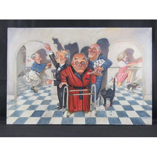 971 - Chris Hiers, American 21st century, an interior scene with crazed elderly persons, oil on canvas, si...