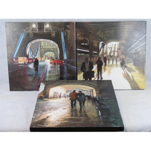 973 - Chris Newbrooke, late 20th century, three London street scenes, acrylic on canvas; all signed; sight...