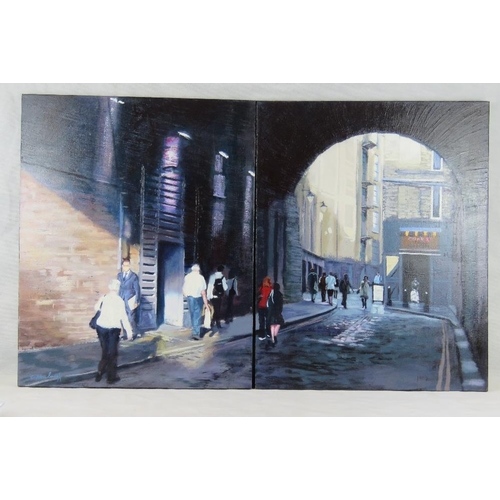 989 - Chris Newbrooke, late 20th century, a panorama of Clink Street, across two canvases; acrylic on canv...