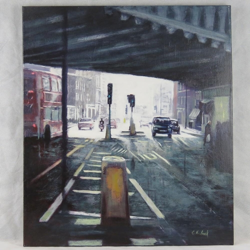990 - Chris Newbrooke, late 20th century, ''Borough High Street'' acrylic on canvas, signed lower right; s...