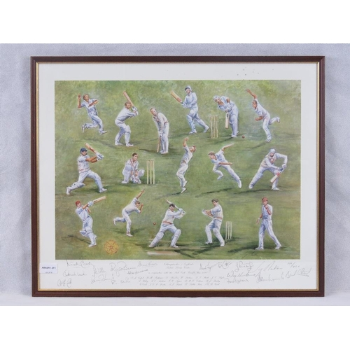 61 - A limited edition cricket print ''Northamptonshire & England's sixteen living Greats'' 1995 signed i...