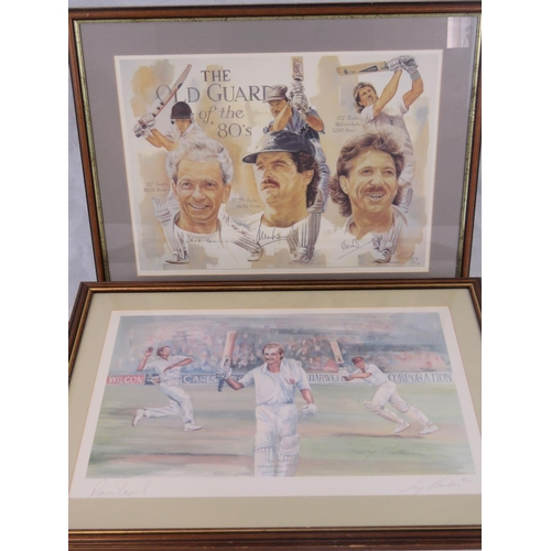 63 - Two limited edition cricket prints: ''The Old Guard of the 80s'' featuring and signed by David Gower...