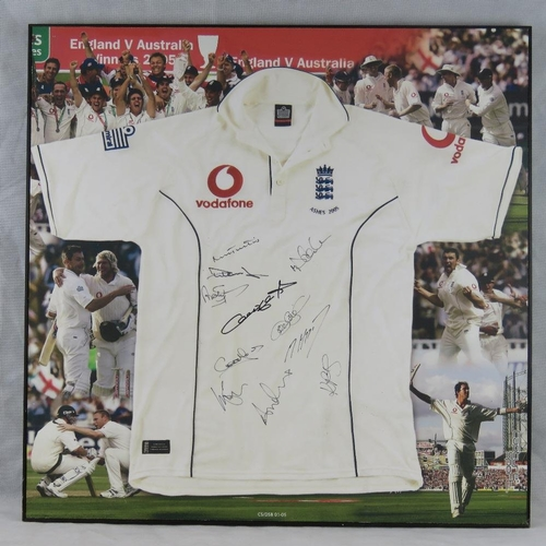 66 - An autographed print of the 2005 England cricket team Ashes victory shirt; signed by Michael Vaughan...