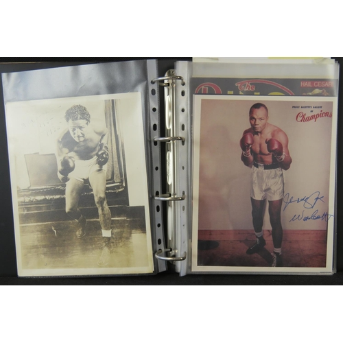 15 - A collection of Boxing autographs including Sugar Ray Leonard and Max Baer also some boxer publicity...