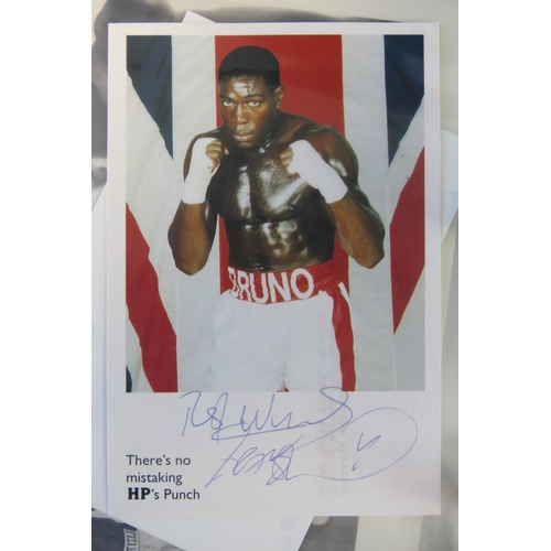 38 - A collection of Boxing autographs including Brian London and Lloyd Hobeyghan also some boxer publici...