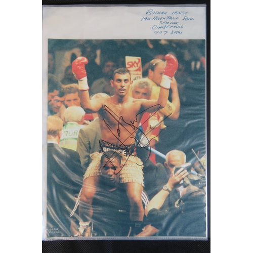 43 - A collection of Boxing autographs including Floyd Paterson and Nassim Hamed also some other boxer pu...