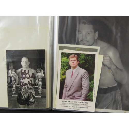 49 - A collection of Boxing autographs including Joe Louis and Henry Cooper also some boxer publicity pri...