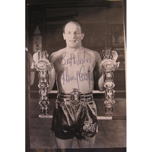 6 - A collection of Boxing autographs including Henry Cooper and George Carpentier also some vintage and...