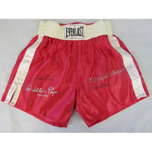 73 - A signed pair of Everlast boxing shorts; signed by Meldrick Tayer; Carmen Basilo; Willie Pep and Car...