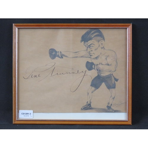 27 - A signed pencil caricature of boxer Gene Tumney, signed middle left by Tumney; sight size 24cm x 29c...