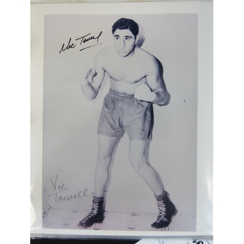 42 - An autographed publicity photographic print of the boxer Vic Towell....