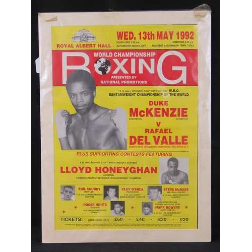 30 - A 1992 World Championship boxing poster featuring Duke McKenzie V Rafael Del Valle and Lloyd Honeygh...