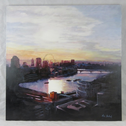 1006 - Chris Newbrooke, the Thames and London skyline, acrylic on canvas, signed lower right....