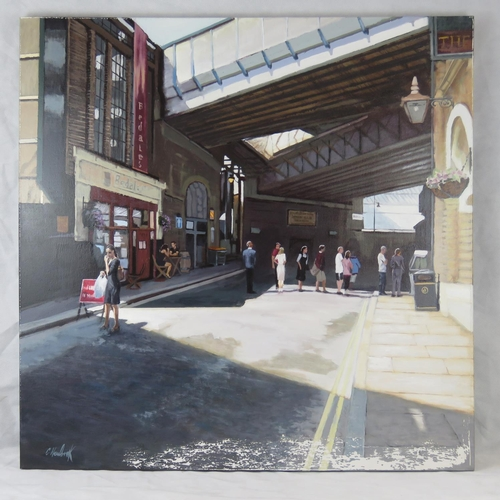 1013 - Chris Newbrooke, late 20th century, ''Lunch-time, Borough Market'', acrylic on canvas, signed lower ...