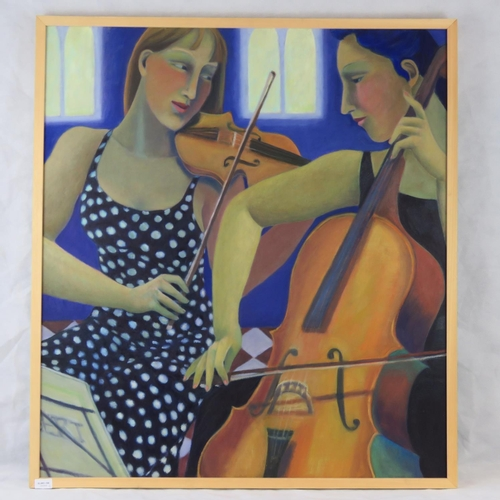 1021 - Sandra Milan, 21st century, ''Duet'', oil on canvas; signed and dated verso ''04''; sight size 100cm...