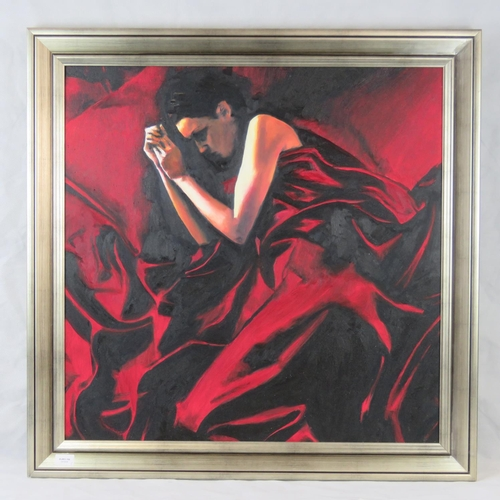 1034 - Unknown, 20th century, Sleeping lady under red covers, oil on canvas, unsigned, sight size 75cm x 75...
