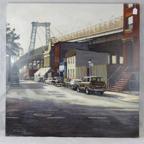1038 - Chris Newbrooke, late 20th century,  ''Williamsburg Bridge, New York, acrylic on canvas, signed lowe...