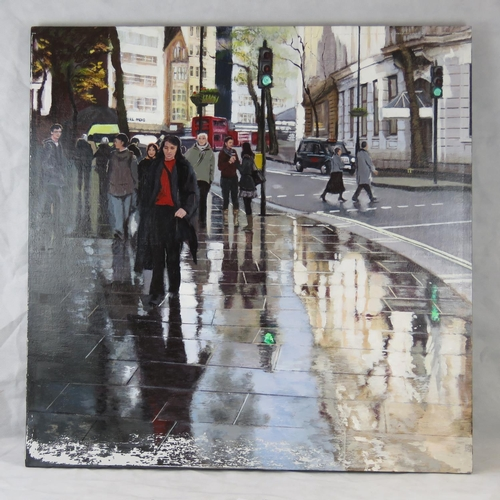 983 - Chris Newbrooke, late 20th century, ''Reflections, Charing Cross'', acrylic on canvas, signed lower ...