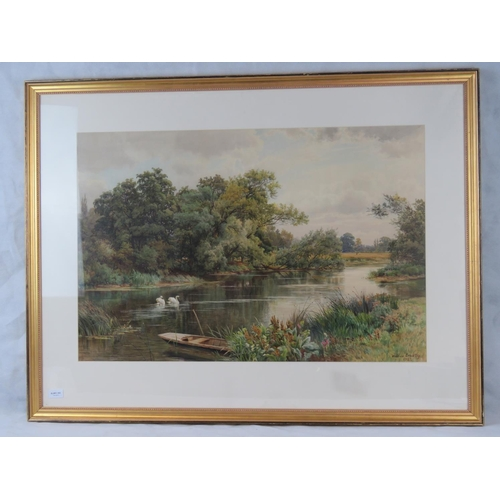 987 - William Bradley (British, ?-1889) riverside view with swans, large watercolour; signed and dated ''1...