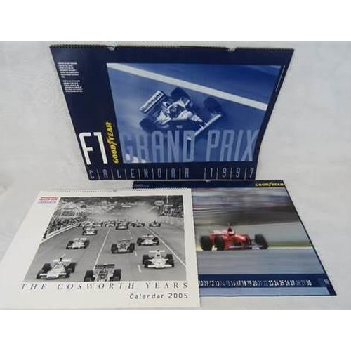 661 - To Goodyear Grand Prix calendars 1997 and 1998 together with a Cosworth 2005 calendar three items...