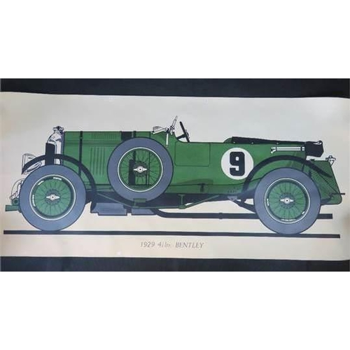 965 - A large fine quality vintage print, profile of the 1929 4 1/2 ltr Bentley. 151 cm x 57...