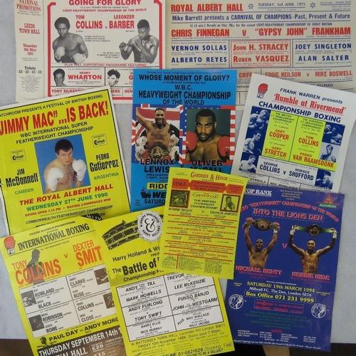 11 - Nine boxing posters Including Lennox Lewis v Oliver McCall (30.5cm x 20.5cm)....