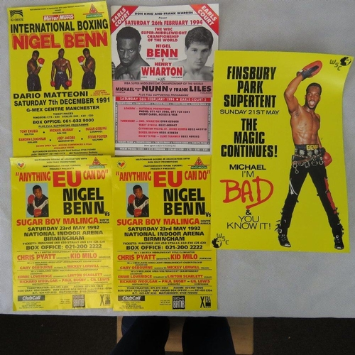 12 - Five Nigel Benn boxing posters, largest 39cm x 25cm....