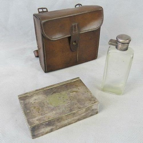 13 - A 19th C leather hunting canteen with plated hunting cake tin and glass flask. 14cm wide....