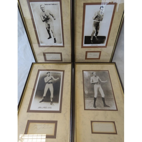 22 - Four mounted prints of late 19th and early 20th century boxers with accompanying autographs: James J...