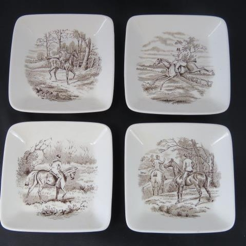 26 - A set of four hunting-themed Copeland Spode pin dishes each 9 1/2cm square....