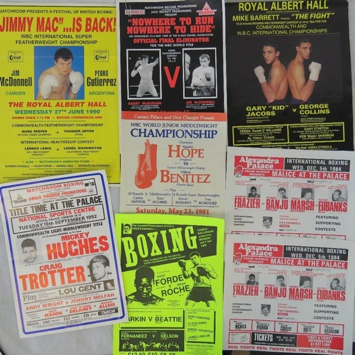 35 - Eight boxing posters including a facsimile of Barry McGuigan v Jim McDonnell (29.5cm x 21cm)...
