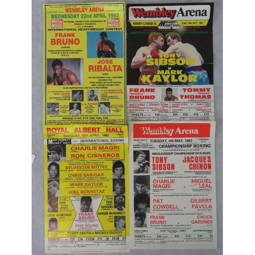39 - Four boxing posters featuring Frank Bruno; largest 30cm x 21cm....