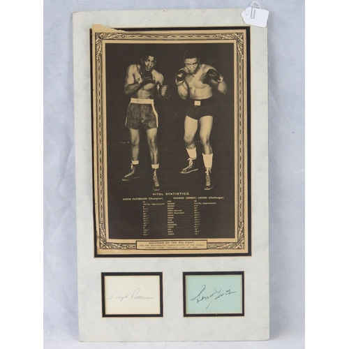 4 - Autographs of the boxers Floyd Patterson and Sonny Liston mounted beneath a souvenir poster of their...