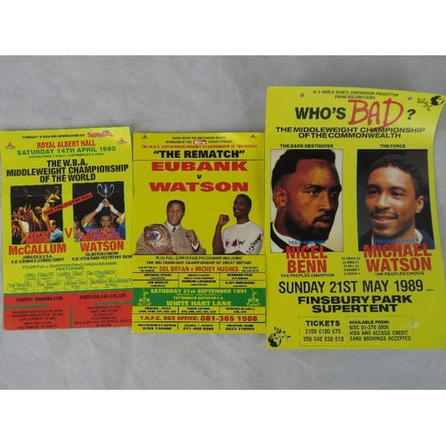 44 - Three Michael Watson boxing posters, including Eubank v. Watson 21st September 1991  (the fight that...
