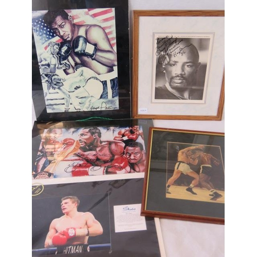 45 - Five boxing prints including a signed and framed publicity print of Marvin Hagler (sight sized 29cm ...