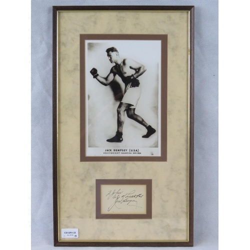 46 - A photographic print of the boxer Jack Dempsey with a separate autograph, mounted and framed; sight ...