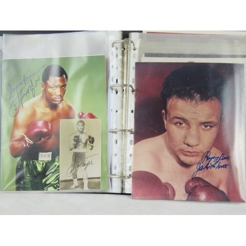 47 - A collection of boxer autographs mid to late 20th century including Joe Fraser and Jake LaMotta....