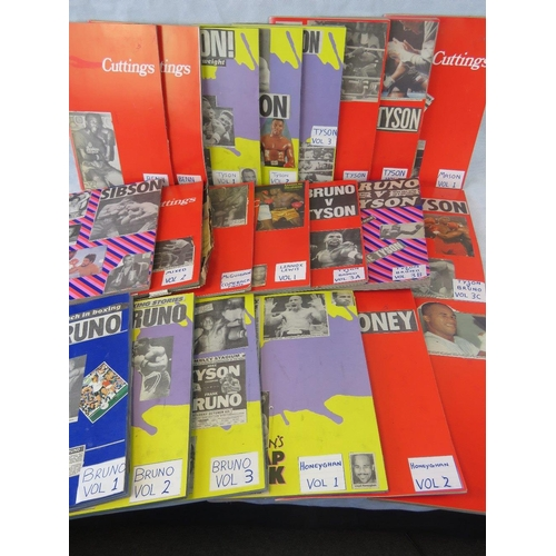 48 - A collection 21 books of themed boxing press cuttings: Frank Bruno, Frank Tyson, Nigel Benn, Lloyd H...