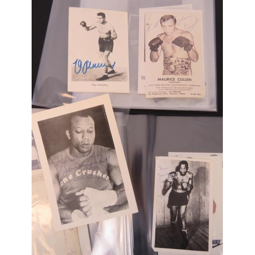 87 - A collection of boxer autographs mid to late 20th century including James 'Bone crusher' Smith and S...