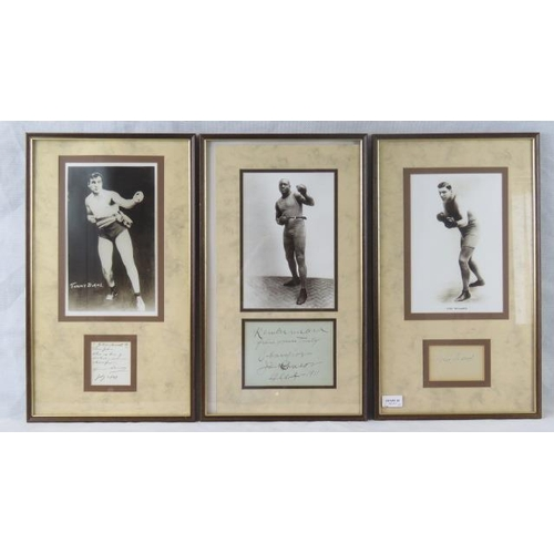 88 - Three mounted prints of boxers with accompanying autographs: Jack Johnson; Jess Willard and Tommy Bu...