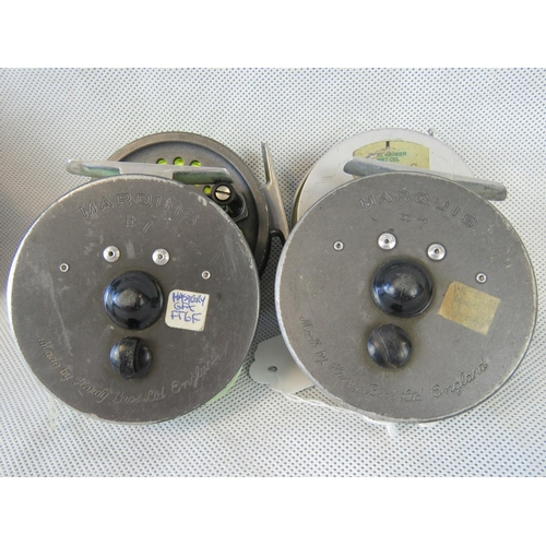 100 - Two vintage Hardy Bros. Marquis #7 Mulitplier fly fishing reels with spare spool also a Orvis Batten...