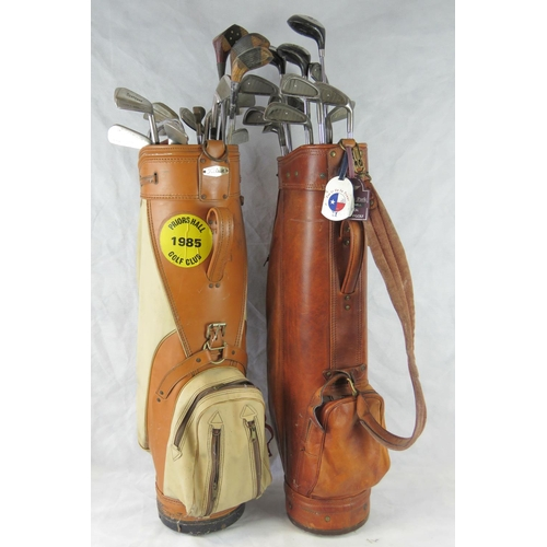 130 - Two retro golf bags including one by Titleist, with various golf clubs; in synthetic bags- property ...