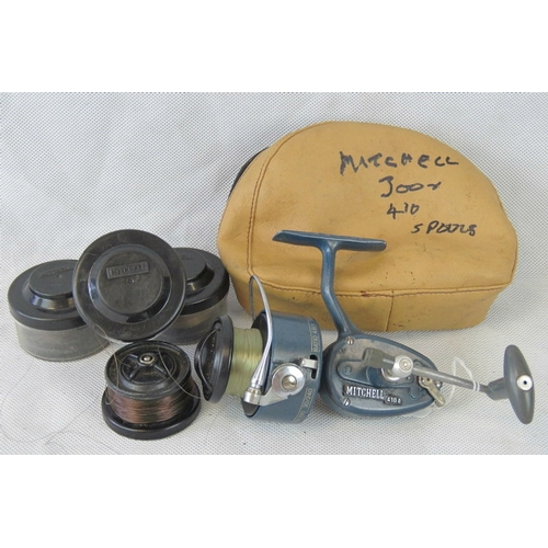 90 - A rare Mitchell 4.10 Special fast-retrieve reel- gear ratio 4.9:1 complete with 4 spools. From the p...