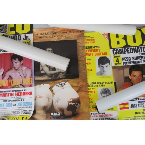 116 - Nine retro boxing promotion posters from U.K. and Americas; largest 70cm x 52cm; a/f all rolled ....