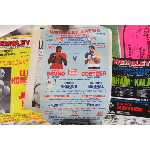 117 - A Frank Bruno Vs Pierre Coetzer fight poster (61cm x 41cm) together with eight other retro boxing pr...