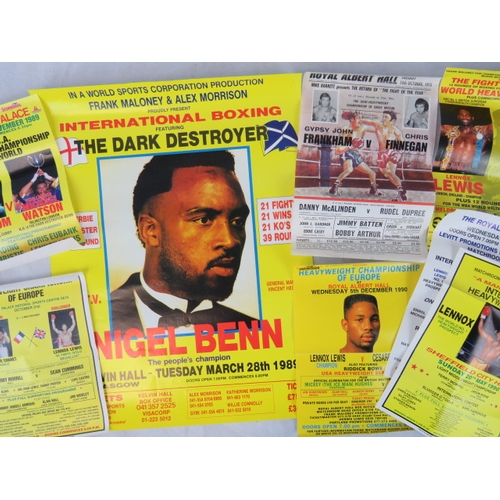 120 - Eight retro boxing posters including some featuring Nigel Benn and Michael Watson; largest 55cm x 42...