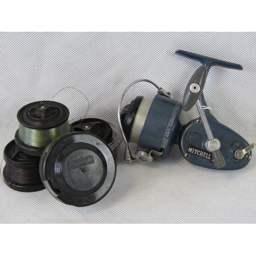 107 - A rare Mitchell 4.10 Special fast-retrieve reel- gear ratio 4.9:1 complete with 4 spools. From the p...