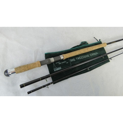 112 - A Bob Church IM6 Tweedside carbon 3-piece 15 foot Salmon rod together with the three hook tube that ...