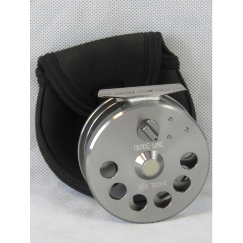 113 - An unused  lightweight River Sea Trout reel in case. From the personal collection of Bob Church two ...